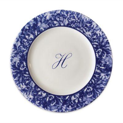 Caskata Peony Dinner Plate in Blue  sc 1 st  Bed Bath \u0026 Beyond & Buy Monogram Plates from Bed Bath \u0026 Beyond