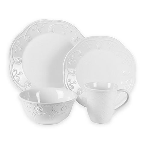 American Atelier Pointelle 16-Piece Dinnerware Set in White  sc 1 st  Bed Bath \u0026 Beyond & American Atelier Pointelle 16-Piece Dinnerware Set in White - Bed ...
