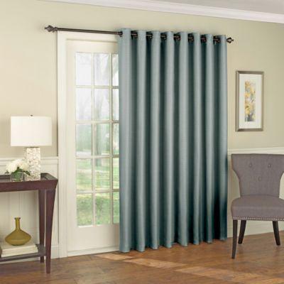 Solar Shield Wilder 84 Inch Grommet Room Darkening Patio Door Curtain Panel In Blue