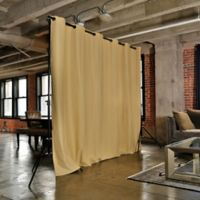 Room Dividers Now Small Freestanding Room Divider Kit A with 8-Foot Curtain Panel in Gold