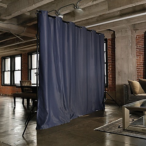 roomdividersnow freestanding room divider kit with 8 foot tall curtain panel a bed bath beyond. Black Bedroom Furniture Sets. Home Design Ideas