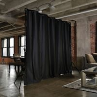 Room Dividers Now Large Freestanding Room Divider Kit A with 8-Foot Curtain Panel in Black