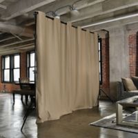 Room Dividers Now Large Freestanding Room Divider Kit A with 8-Foot Curtain Panel in Mocha