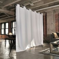 Room Dividers Now Large Freestanding Room Divider Kit B with 8-Foot Curtain Panel in Natural White