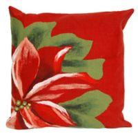 Visions II Poinsettia 20-Inch Square Indoor/Outdoor Throw Pillow in Red