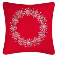 Snowflake Wreath Square Throw Pillow in Red/White