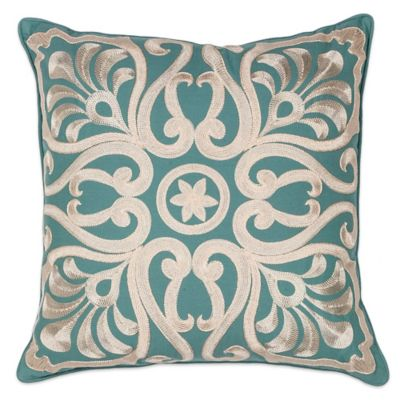 Kas® Damask Square Throw Pillow In Teal