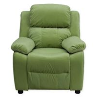 Flash Furniture Microfiber Kids Recliner with Storage Arms in Avocado