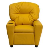 Flash Furniture Vinyl Kids Recliner with Cup Holder in Yellow