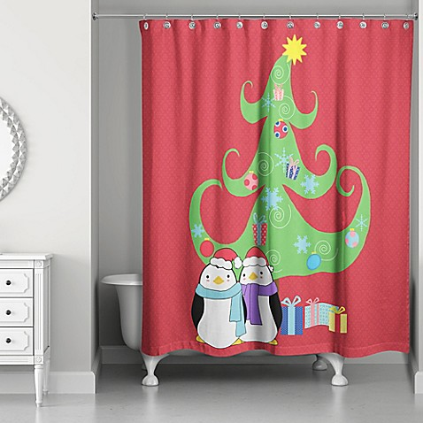 buy holiday fun shower curtain in red