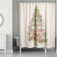 Watercolor Christmas Tree Shower Curtain In Green Red