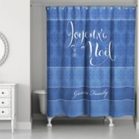 Snowflake Joy Shower Curtain in Blue/White