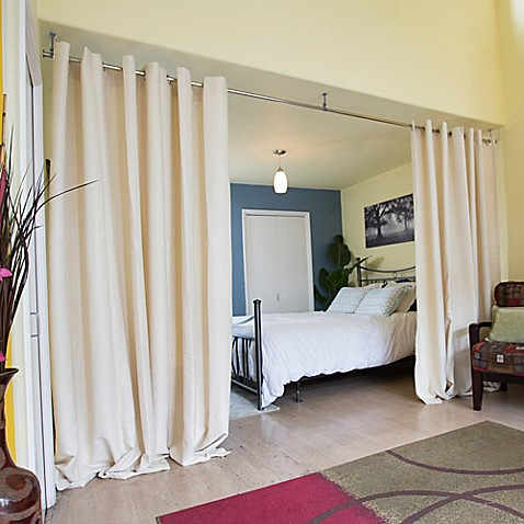 Buy room dividers now small hanging room divider kit a for Small room divider