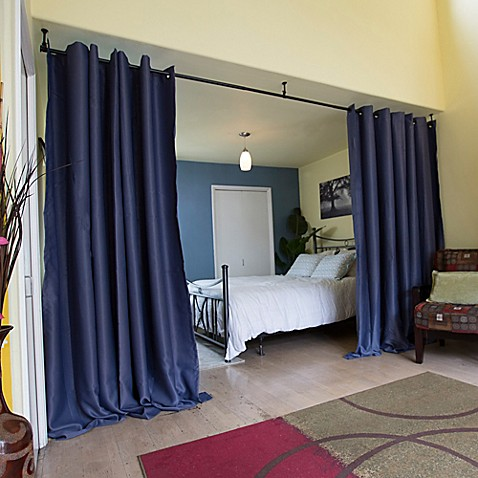 Roomdividersnow hanging room divider kit a with 8 foot tall curtain panel a bed bath beyond - Hanging room divider curtains ...