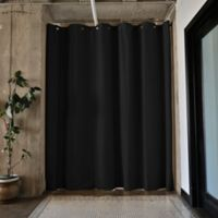Room Dividers Now Large Tension Rod Room Divider Kit A with 8-Foot Curtain Panel in Black