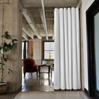 Room Dividers Now Small Tension Rod Room Divider Kit B with 9-Foot Curtain Panel in Natural White