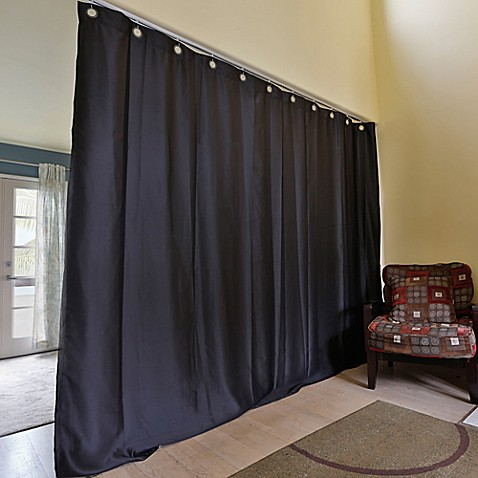 Buy Room Dividers Now Medium Ceiling Track Room Divider Kit A With 8 Foot Curtain Panel In Black