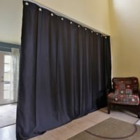 Room Dividers Now X-Large Ceiling Track Room Divider Kit A with 8-Foot Curtain Panel in Black