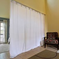 Room Dividers Now X-L Ceiling Track Room Divider Kit A with 8-Foot Curtain Panel in Natural White