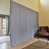 Room Dividers Now X-Large Ceiling Track Room Divider Kit A with 8-Foot Curtain Panel in Grey