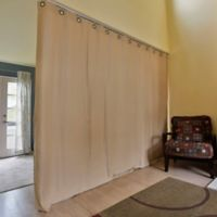 Room Dividers Now X-Large Ceiling Track Room Divider Kit A with 8-Foot Curtain Panel in Mocha