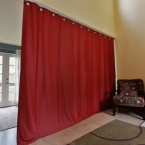 roomdividersnow ceiling track room divider kit b with 9 foot tall curtain panel b bed bath. Black Bedroom Furniture Sets. Home Design Ideas