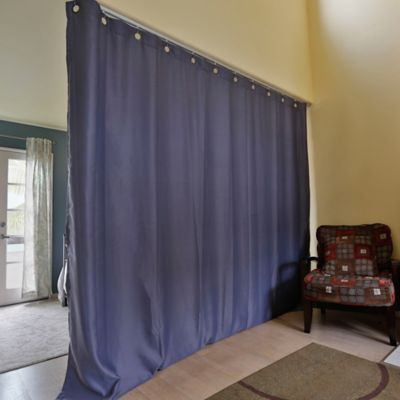 buy room dividers now medium tension rod room divider kit b with 9 foot curtain panel in blue. Black Bedroom Furniture Sets. Home Design Ideas