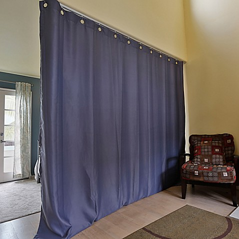 buy room dividers now medium ceiling track room divider kit a with 8 foot curtain panel in blue