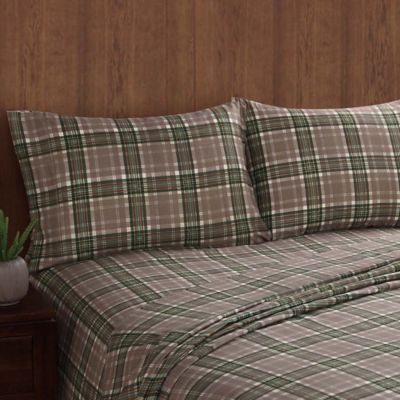 remington long trail plaid full sheet set in greentan
