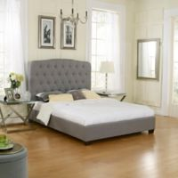 E-Rest Taylor Upholstered Queen Platform Bed in Grey Linen
