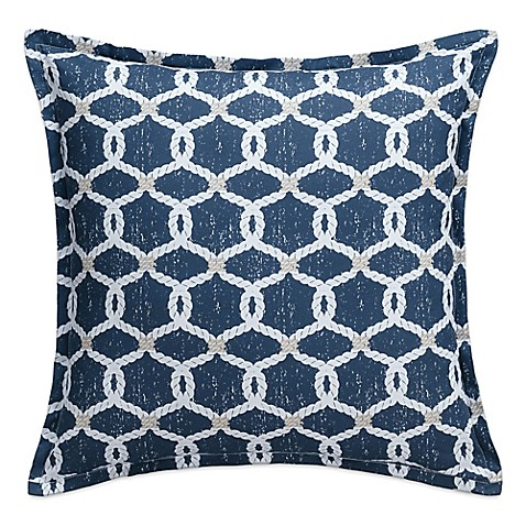 Nautical Map Rope Knots Square Throw Pillow In Navy Bed