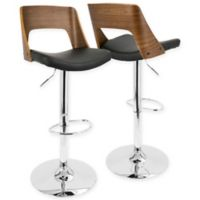 LumiSource Valencia Adjustable Barstool with Swivel in Walnut/Black