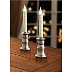 10-Inch Battery Operated LED Candlestick Lamps in Brushed Nickel (Set of 2)