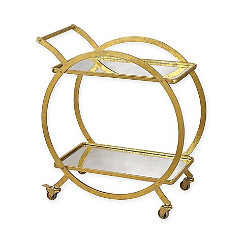 image of Sterling Industries Ring Bar Cart in Distressed Gold