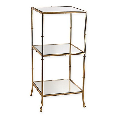 sterling industries malacca metal shelving unit in gold. Black Bedroom Furniture Sets. Home Design Ideas
