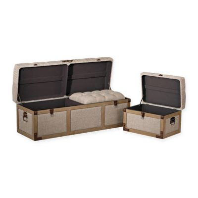 Sterling Industries 3 Piece Belgian Linen Storage Trunks In Cream/Oak