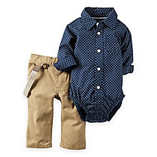 Carter S 174 2 Piece Bodysuit And Suspender Pant Set In Blue