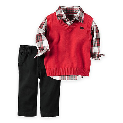 Carter 39 s 3 piece little vest plaid shirt and pant set for Plaid shirt under sweater