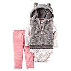 carter's® Size 3M 3-Piece Velboa Hooded Vest, Bodysuit, and Legging Set in Grey/Pink