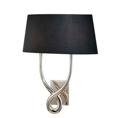 Single Light Wall Sconce With Crystals : 2-Light Wall Sconce with Fabric Shade in Silver/Black - Bed Bath & Beyond