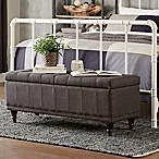 Verona Home Amelia Button Tufted Storage Bench in Charcoal