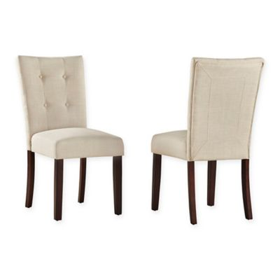 Verona Home Jolena Button Tufted Linen Side Chairs In Oatmeal (Set Of 2)