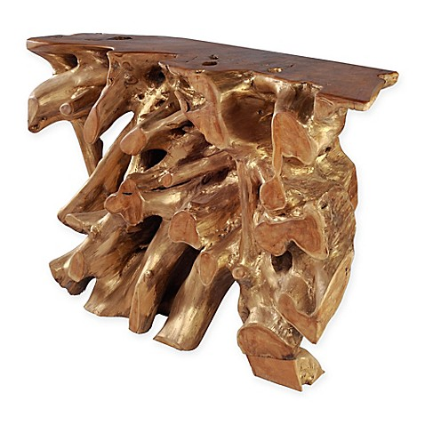 Zuo 174 Dino Console Table In Gold Natural Wood Bed Bath