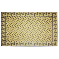 J&M Home Fashions 18-Inch x 30-Inch Greek Key Door Mat in Beige