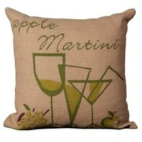 "Mina Victory ""Apple Martini"" 20-Inch Square Throw Pillow in Natural"