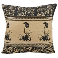 Mina Victory Black Flowers 20-Inch Square Throw Pillow in Natural