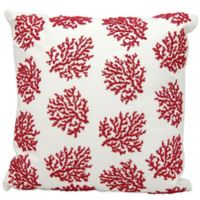 Mina Victory Square Beaded Corals Throw Pillow in Red/White