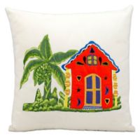 Mina Victory Square Outdoor Caribbean Home Throw Pillow
