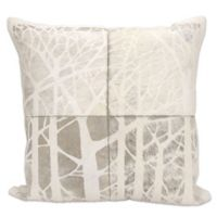 Mina Victory Natural Leather Hide Square Throw Pillow in Grey