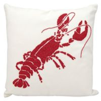 Mina Victory Lobster Square Outdoor Throw Pillow in Red/White